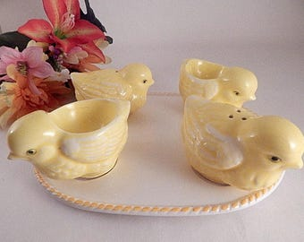 Salt Pepper Shakers Chicken Egg Cups Oval Tray Ceramic Tableware Vintage 1960s Breakfast Dishes Yellow Baby Chick Farmhouse Kitchen Decor