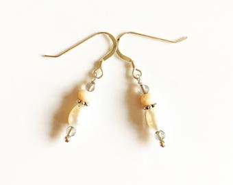 Aphrodite Pearl and Smokey Quartz Silver Earrings //Gemstone earrings //gifts for her //Wedding earrings //Drop earrings //silver earrings