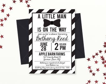 Little Man Baby Shower Invitation, Black and White Bowtie Baby Shower Invite, Little Man Bow Tie, Printable, Editable PDF invite, Instant