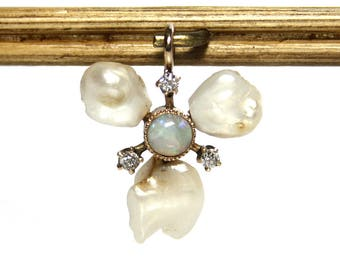 Antique Opal And Old European Diamond Pendant With River Pearls