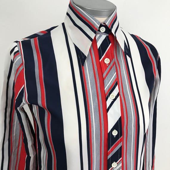 1970s Mod shirt Dagger collar tight blouse 70s navy red white striped design UK 10 scooter girl Mod stripey