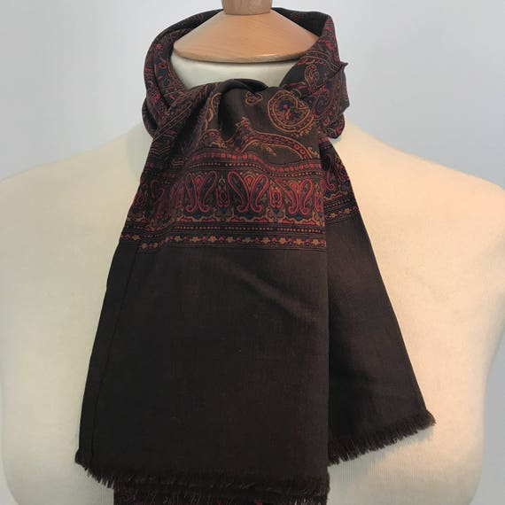 Vintage gents scarf Paisley fine wool gentlemans cravat menswear scarf brown red long oblong Mod gent neckerchief orange scooter hugh hefner