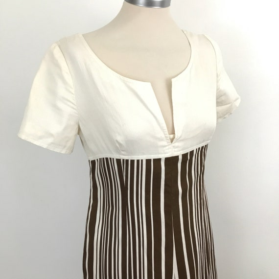 Maxi dress 1960s striped cotton long empire baby doll brown and white stripey UK 10 summer frock 70s 60s GoGo monotone