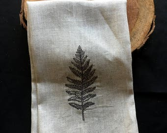 Natural Tea Towel - Fern Embroidered Tea Towel - Botanical