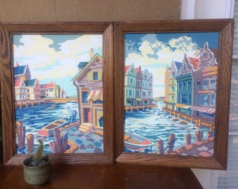 """Set of 2 VTG Framed Paint By Numbers, Canal/ Harbor Scenes, 18.5"""""""