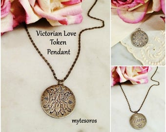 AnTIQUE ViCTORIAN LOVE ToKEN 1888 DiME Coin PeNDANT, women's initial monogram AK or KA. AnTiQUE CoiN JewELRY, AnTIQUE SiLVER PenDANT JewELRY