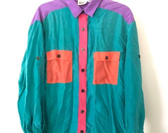 100% Silk Leslie Faye Colorblocked Blouse 90s