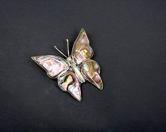Abalone Butterfly Pin - Vintage Butterfly Brooch - Mexcio Butterfly Brooch - Vintage Butterfly Pin - Butterfly Gift for Her - Valentines Day