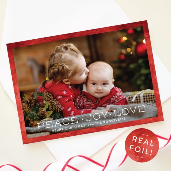 Foil Pressed Christmas Cards, Peace Love Joy Greeting Card with Red Foil Border, 5x7 Christmas Card, Personalized Holiday Card | Bordered