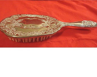 Gorgeous Silverplate Hair Brush c.1940s Repoussed Floral Scroll Design (1468)