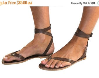 15% OFF Brown Leather Sandals for Women & Men - Design 4 - Handmade Leather Sandals, Casual Leather Flats, Unisex Sandals, Genuine Leather S