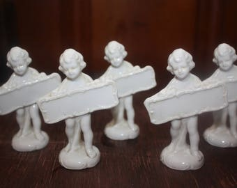 Vintage Set of 5 White Cherub Dining Place Holders