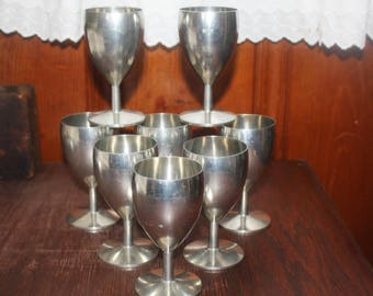 Vintage Set of Eight Pewter Wine Goblets Marked Metawa Holland and Real Pewter