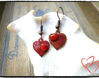 Earrings ', hearts, pink, red, enameled, copper, enamel, Valentine's day, shabby chic