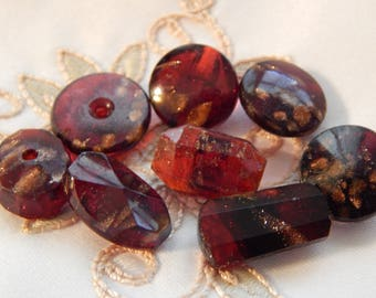 Ruby Red Glass with Goldstone - Antique Buttons of Different Shapes - 8