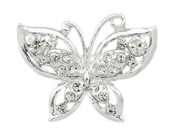 Butterfly Bling Brooch! Silver with Faux Diamonds - Great for crafts!