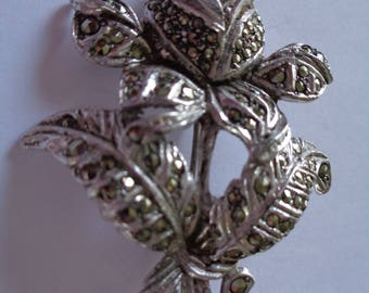 Fabulous Unsigned Vintage Mascasite Rose Brooch/Pin