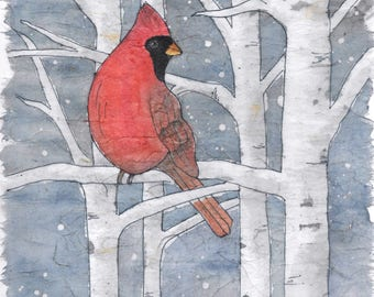 "Note cards,  ""Cardinal in the Birch"""