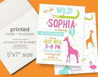 Girl Zoo Birthday Invitation - PRINTED wild animal birthday party invite giraffe elephant crocodile invite petting zoo