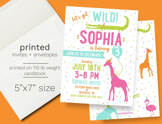 Girl zoo birthday invitation printed wild animal birthday party il570xn filmwisefo Images