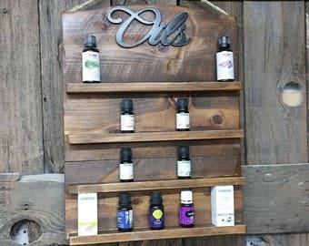 Essential oil Shelf, Oils Rack, essential oil rack, 4 shelf rustic display, rustic rack, rustic oil organizer, barnwood shelf