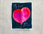You are Here Heart Single Card: Blank Inside