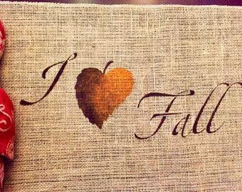 I Love Fall Placemat / Fall Burlap Placemat / Fall Placemat / Burlap Placemat / Thanksgiving Placemat