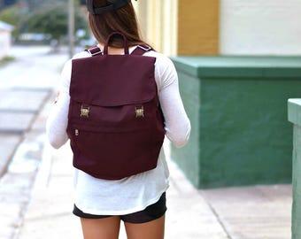Canvas Backpack, Canvas Rucksack, Laptop Backpack, Canvas Weekender Bag, Waxed Canvas Bag, Burgundy