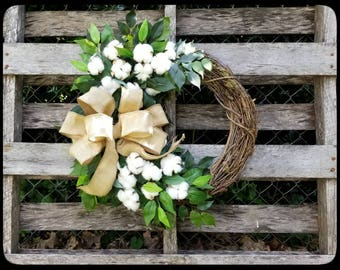 Cotton Wreath, Burlap Bow Wreath, Front Door Wreath, Fixer Upper Decor, Cotton Boll Wreath, Rustic Wreaths, Farmhouse Wreath, Wedding Wreath