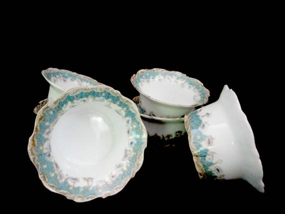 Set of 6 Custard Cups, Creme Brullee Cups, Delicate Blue Floral Bowls, Scalloped Edges, Cottage Decor, Made in Austria