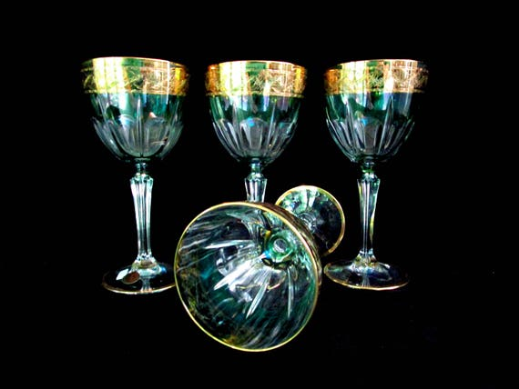 Set of 4 Wine Glasses, Cre Art CreArt Crystal, 24kt Gold Rim, Green Crowned Thumb Print, Made in Italy