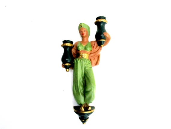 Chalkware Harem Dancer, Exotic Woman Holding Jugs,  ABCO Wall Decor, Alexander Backer, Large Chalkware Wall Decor