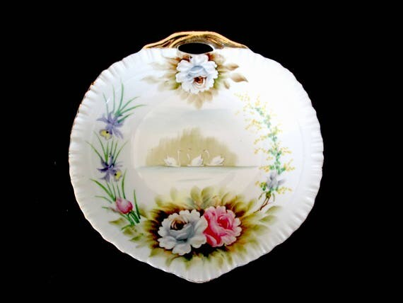 Antique Serving Dish, Swans, Hand Painted, Gold Gilt Handle, Scalloped Edges, Modern Farmhouse Cottage Dining