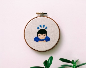 """Embroidery - Bow emoji embroidered 4"""" wall hanging"""