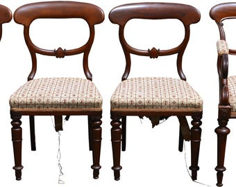 2948 Set of 4 Walnut Assembled Formal Country Dining Chairs