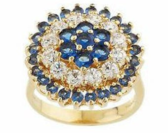 Jackie Kennedy 24K GP Ring - Blue Simulated Sapphires with Box and COA - Size 7