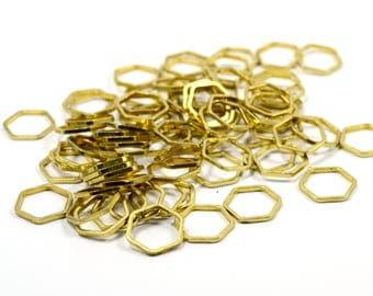 50 Pcs. Raw Brass  1x10 mm  Hexagon Ring  Circle  Findings