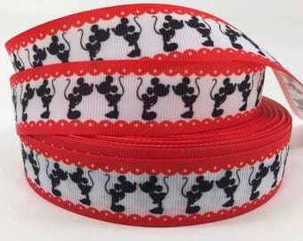 """By the Yard 1"""" Disney Mickey Minnie Mouse Kissing Grosgrain Ribbon Great for Hair Bows Lanyards Scrapbooking Pacifier Clips Lisa"""