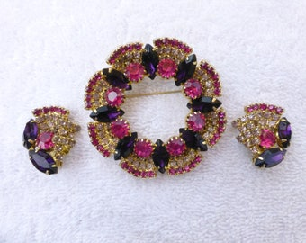 Stunning Scalloped Wreath Brooch Set Hot Pink and Royal Purple Rhinestones