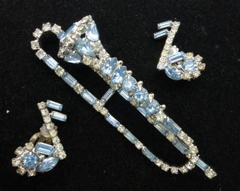 Original by Robert Trombone Pale Blue and Clear Rhinestone Brooch and Musical Note Clip Earrings Set