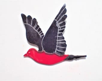 Lucite Red and Black Bird Parrot Figural Brooch with Etched Designs on Wings and Tail