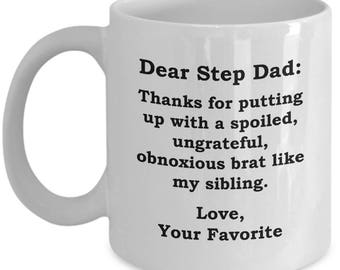Dear Step Dad Brat Sibling Father's Day Mug Funny Gift for Step Father Birthday Coffee Cup