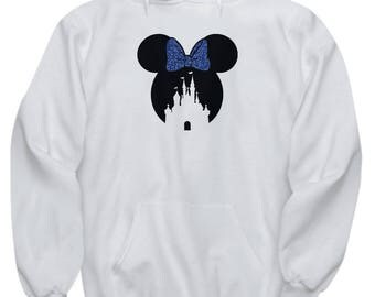 Magic Castle Mouse Hoodie Gift Blue Bow Love Fan Fanatic Magical Sweatshirt