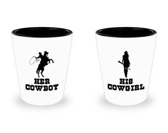 Her Cowboy and His Cowgirl Shot Glass SET OF TWO Gift Couples His Hers Horse Riding Rider