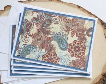Red and Blue Paisley Card Set - Thank You Card Set - Greeting Card Set - Hello Cards - Encouragement Cards - Blank Card Set of 5
