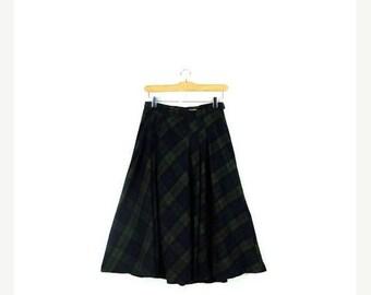 ON SALE Vintage Dark Green/Navy Tartan Plaid Flare  Skirt from 1980's/ W24*