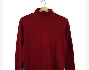 ON SALE Red High Neck Long sleeve T-shirt from 90's