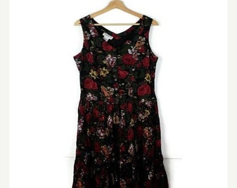 ON SALE Vintage Black x Floral Sleeveless Cotton Dress from 90's