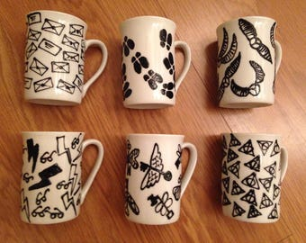 Hand decorated Harry Potter inspired mugs