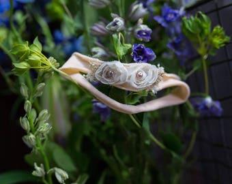 Ivory Peach baby headband, Nylon peach newborn headband, Newborn peach cream headband